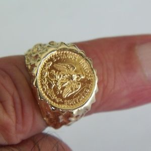 FINE GOLD MEXICAN DOS PESO 14K GOLD RING